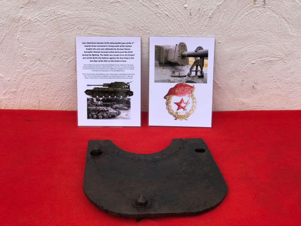 Gun shield used by Russian SU76 self propelled gun of the 1st Guards Army recovered in Carzig south of the Seelow heights the area was defended by German Panzer Grenadier Division Kurmark, battle of 16-19 April part of the Berlin the Defence