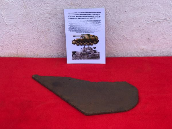 5mm gun shield section with some original sand camouflage paintwork from German Wespe self-propelled gun recovered from Plota,near Prokhorovka on the battlefield at Kursk in Russia