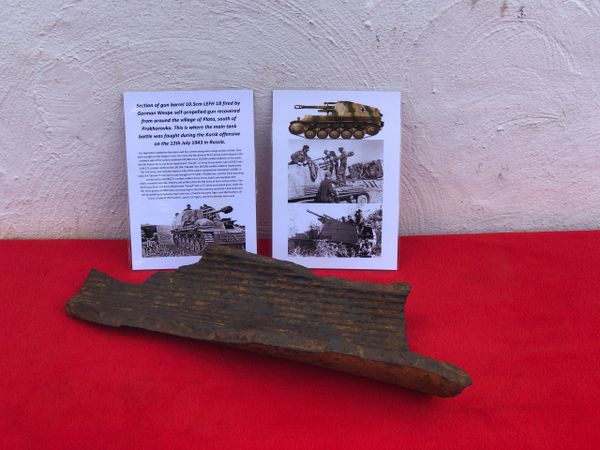 Very rare section of gun barrel 10.5cm LEFH 18 fired by German Wespe self-propelled gun recovered from Plota,near Prokhorovka on the battlefield at Kursk in Russia