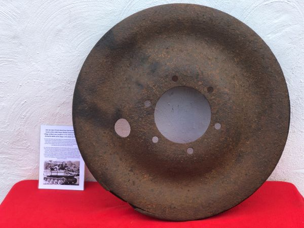 Rare late war type of track wheel from German RSO artillery tractor of the 116th Panzer Division,some original paintwork recovered from near Houffalize in the Ardennes forest from battle of the bulge winter 1944-1945
