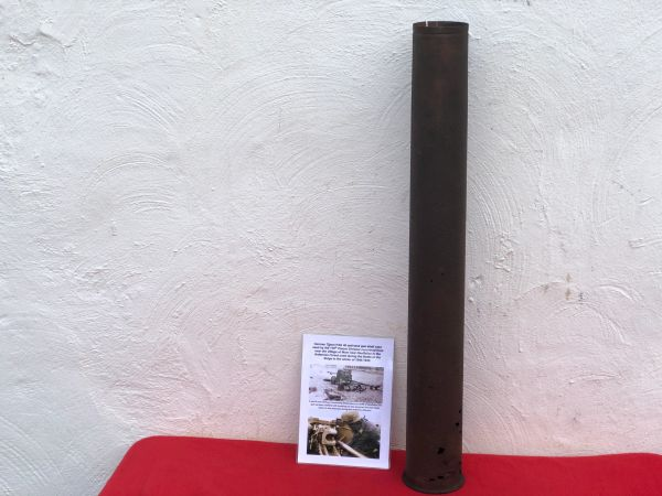 German 75mm steel shell case for the PAK 40 anti tank gun used by the 116th Panzer Division recovered from near Mont,Houffalize in the Ardennes forest 1944-1945