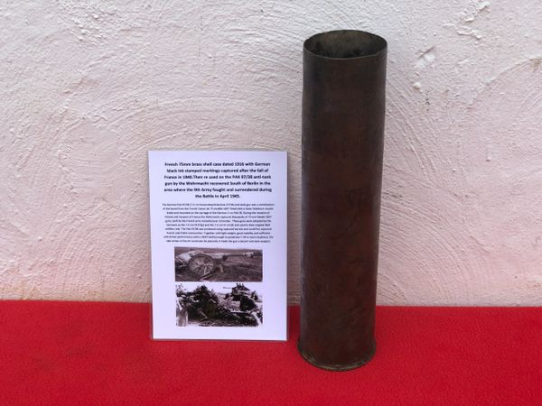 French 75mm brass shell case dated 1916,with German black ink stamp markings re used by the German army as the PAK 97/38 anti-tank gun recovered South of Berlin in the area the 9th Army fought,surrendered in April 1945