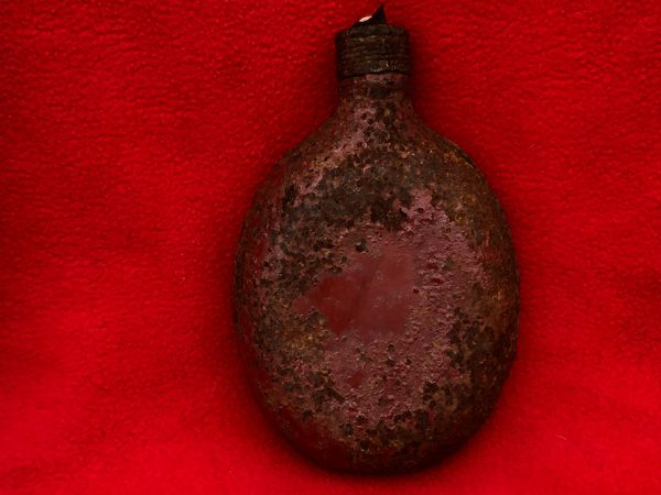 German army issue red painted water bottle with screw top used by soldier of Panzer Grenadier Division Kurmark recovered, Carzig south of the Seelow heights the 16-19 April 1945 battlefield