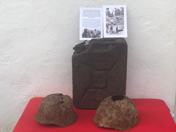 German M40 helmet,Russian SSH40 helmet and German fuel can dated 1942 all in as found condition recovered in March 2020 from old German bunker from the area of Priekule,Kurland pocket defended by the SS Nordland Division the battle in 1944-1945