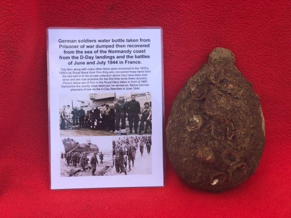Very rare German soldiers water bottle from POW dumped then recovered from the sea off the Normandy coast from the D-Day landings on the 6th June and June -July 1944 battles,recovered by Royal Navy Diver in the 1970-1980s