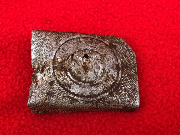 German soldiers Aluminium belt buckle,dated 1937 de nazified on the front,fantastic on the back recovered in Sevastopol the battlefield of 1941-1942 in the Crimea the Germans last big victory in East