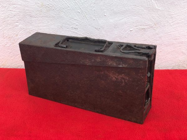 German MG 34/42 ammunition tin with near all original paintwork recovered from water in the area of Sochau near Furstenfeld in Austria where on 12th May 1945 the SS Wiking Division surrendered to the Americans