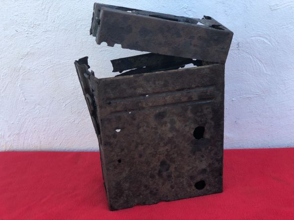 German 20mm Flak 30/38 Anti-Aircraft gun magazine twin carry box,with paintwork badly burnt in fire,recovered from water in the area of Sochau near Furstenfeld in Austria where on 12th May 1945 the SS Wiking Division surrendered to the Americans