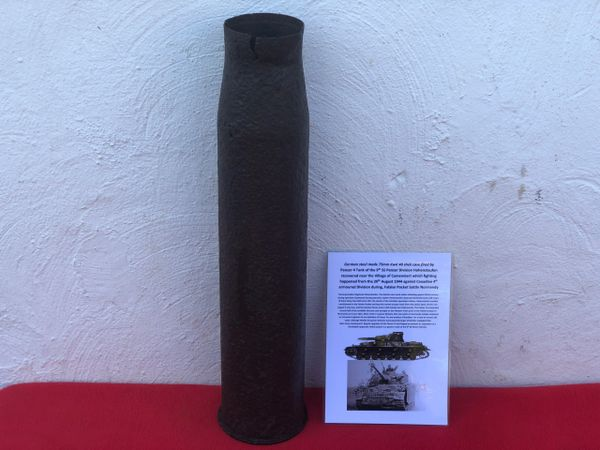 75mm KwK 40 shell case fired by German Panzer 4 tank,9th SS Panzer Division Hohenstaufen recovered near Camembert from the battle of 20th August 1944 from the last days of fighting in the Falaise Pocket in Normandy