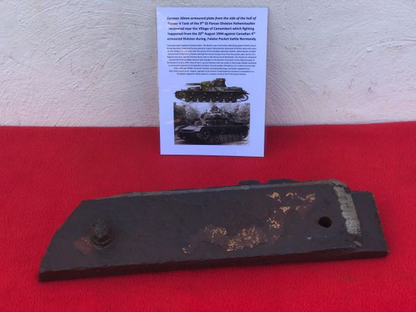 30mm armoured plate, original red undercoat paintwork from side armour of German Panzer 4 tank of 9th SS Panzer Division Hohenstaufen recovered near Camembert from the battle of 20th August 1944 from the fighting in the Falaise Pocket in Normandy