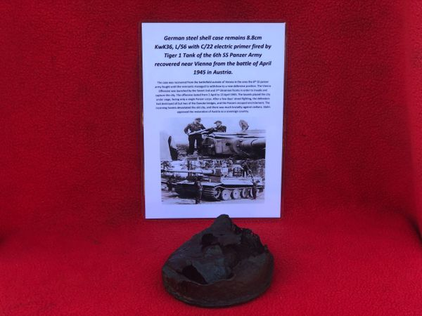 German base of a case a fired 8.8cm KwK36,L56 steel shell case which has the C/22 electric primer from a German Tiger 1 Tank of the 6th SS Panzer Army recovered near Vienna from the battle of April 1945