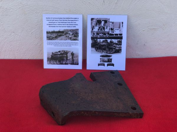 Very rare section of armoured plate from behind the engine, internal wall spacer,complete and original paintwork from German Sturmgeschutz 3 from the Trun scrap yard in the Falaise Pocket,Normandy 1944