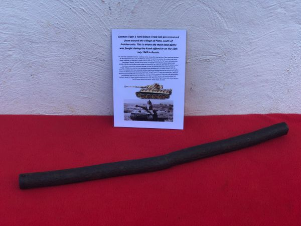 Blown track link pin with some of its original colour, well cleaned from German Tiger tank recovered from Plota, near Prokhorovka on the battlefield at Kursk in Russia