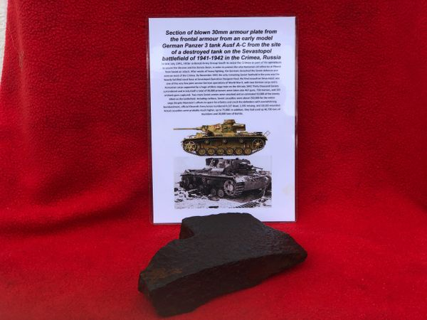 Section of 30mm armour plate from the frontal armour off a German Panzer 3 Tank Ausf A-C recovered from the site of destroyed tank in Sevastopol the battlefield of the Crimea 1941-1942 in Russia