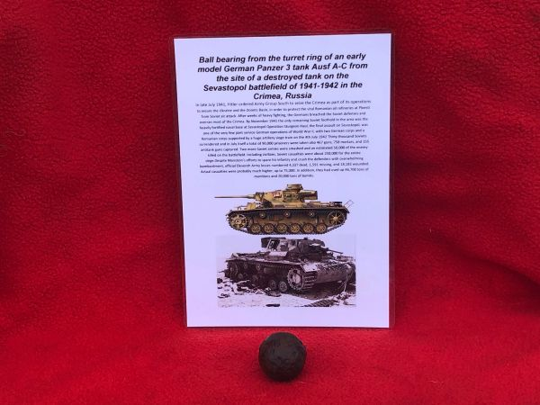 Ball bearing from the turret ring from a German Panzer 3 Tank Ausf A-C recovered from the site of destroyed tank in Sevastopol the battlefield of the Crimea 1941-1942 in Russia