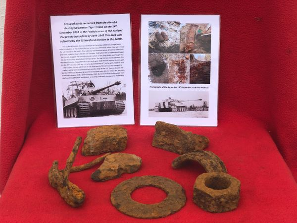 1 Group of parts in as found condition recovered on the 14th December 2018 from the site of a destroyed Tiger 1 tank from the area of Priekule in the Kurland pocket defended by the SS Nordland Division
