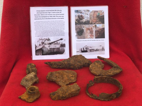 2 Group of parts in as found condition recovered on the 14th December 2018 from the site of a destroyed Tiger 1 tank from the area of Priekule in the Kurland pocket defended by the SS Nordland Division