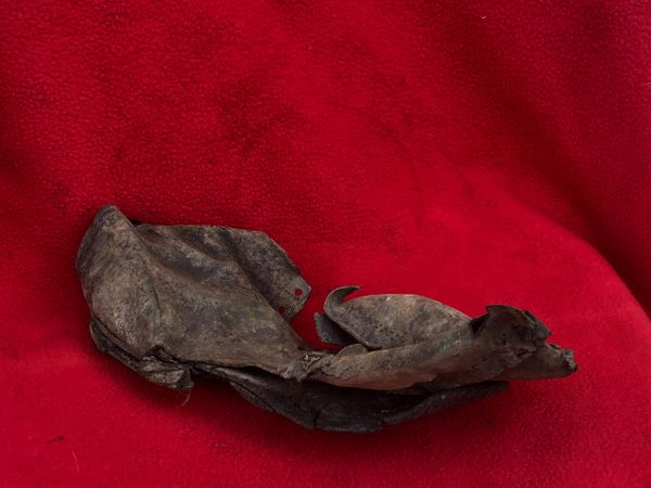 German leather boot remains not complete but rare relic used by soldier of the 77th Infantry Division recovered Mairle de Pleurtuit the battle for St malo port in August 1944,Normandy