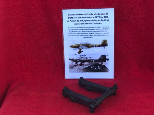 Engine valve rocker from the hart of the Jumo engine from German Junkers JU87 Stuka dive bomber of 4/STG77 shot down on 22nd May 1940 during the Battle of France