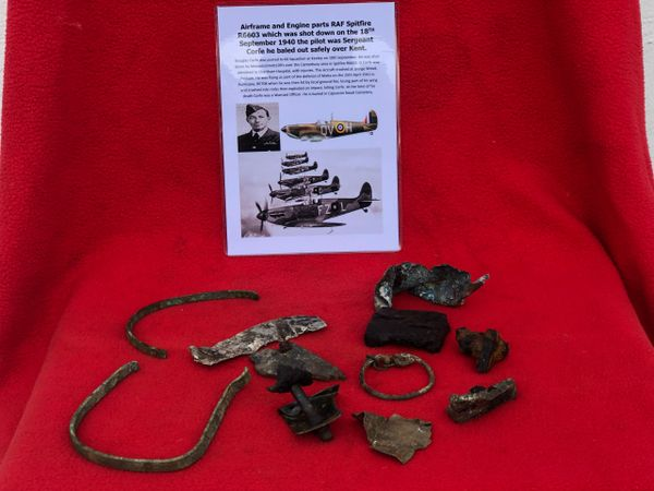 Airframe and Engine parts, nice clean relics from RAF Spitfire R6603 which was shot down on the 18th September 1940 over Kent and crashed at Denge Wood