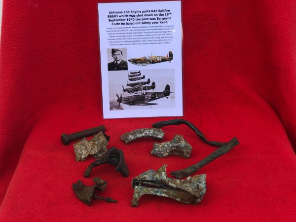 Airframe and Engine parts, nice clean relics from RAF Spitfire R6603 which was shot down on the 18th September 1940 over Kent and crashed at Denge Wood,Petham