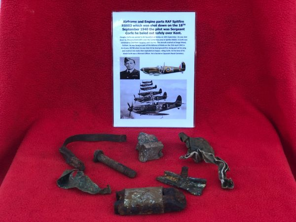 Airframe and Engine parts, nice clean relics from RAF Spitfire R6603 which was shot down on the 18th September 1940 over Kent and crashed at Denge Wood near Canterbury