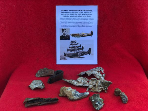 Airframe and Engine parts, nice clean relics from RAF Spitfire R6603 which was shot down on the 18th September 1940 over Kent and crashed at Denge Wood, Petham near Canterbury