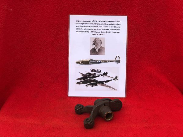 Engine valve rocker, nice condition part from US P38 Lightning 42-28456 shot down 19th June 1944 over Normandy