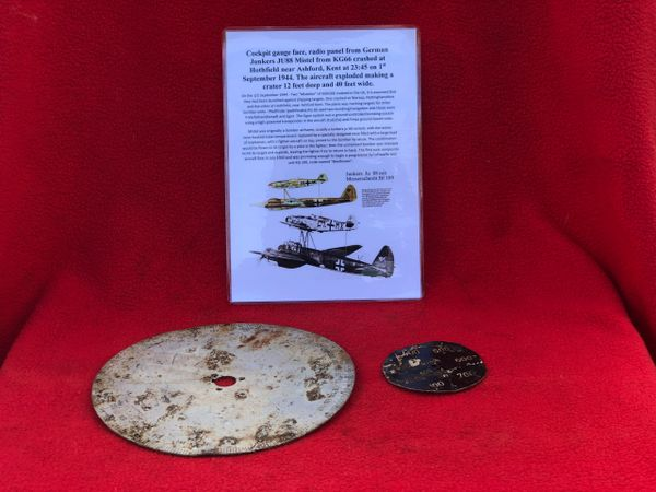 Cockpit gauge face and radio panel dial, nice clean parts from German Junkers JU88 Mistel from KG66 shot down on the 1st September 1944 crashed at Hothfield near Ashford,Kent