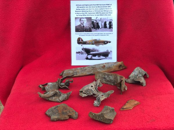 Airframe and Engine parts, Perspex nice condition from RAF Hurricane P2967 which was shot down on the 27th September 1940 and crashed at Milstead near Sittingbourne in Kent. The plane was in 242 Squadron commanded by Douglas Bader