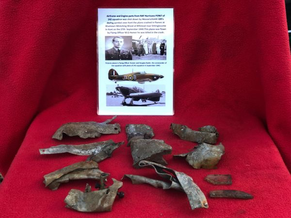 Airframe sections and Engine parts, Perspex nice condition from RAF Hurricane P2967 which was shot down on the 27th September 1940 and crashed at Milstead near Sittingbourne in Kent. The plane was in 242 Squadron commanded by Douglas Bader