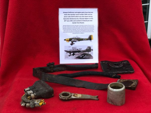 Airframe and engine parts with marker markings,87 part numbers from German stuka dive bomber work number 5956 shot down on Operation Barbarossa on the 26th June 1941 and crashed in Finland