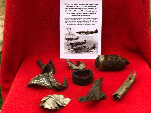 Large airframe sections and large engine parts, nice clean relics from RAF spitfire P9447 was shot down on the 11th October 1940 and crashed at Preston Hall near Maidstone