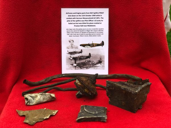 Airframe sections with paintwork and large engine parts, nice clean relics from RAF spitfire P9447 was shot down on the 11th October 1940 and crashed at Preston Hall near Maidstone