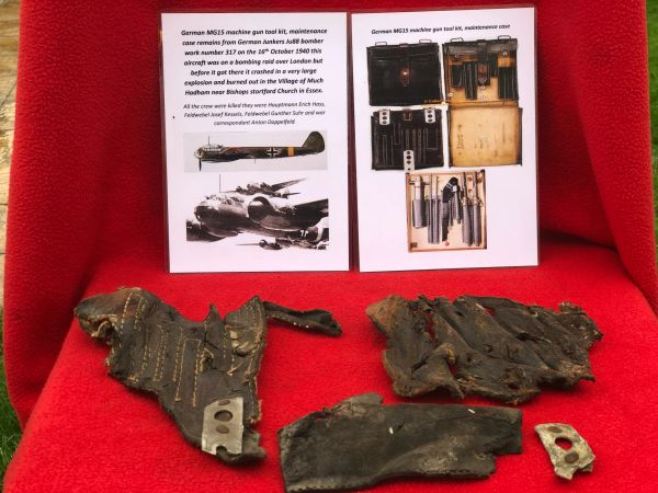 Very rare German MG15 machine gun leather tool kit, maintenance case remains from German Junkers ju88 bomber number 317 shot down 16th October 1940 over Essex