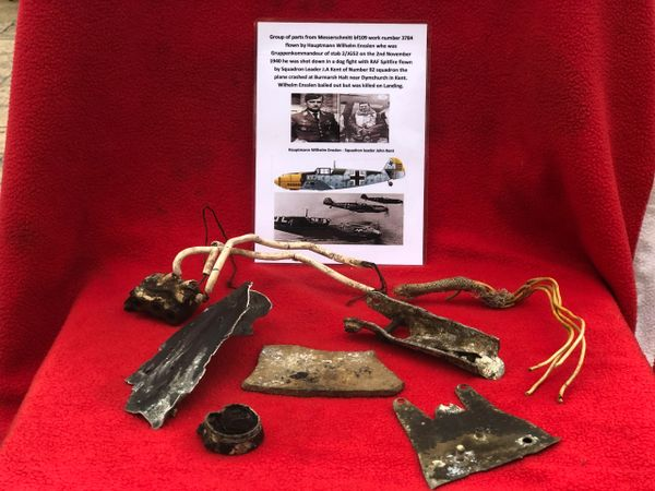 Group of airframe parts lots of original paintwork, electrical parts from Messerschmitt bf109 work number 3784 the pilot was Hauptmann Wilhelm Ensslen shot down on the 2nd November 1940 during the battle of Britain
