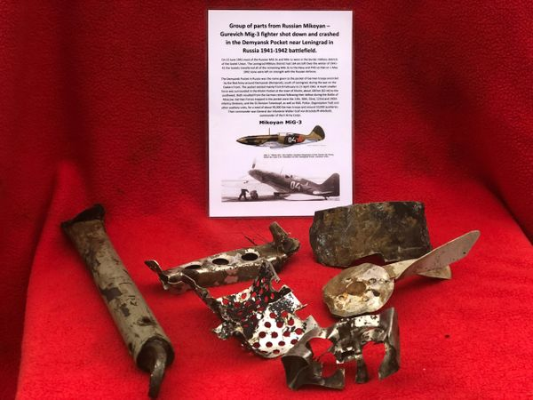 Group of parts, nice clean relics with original markings and paintwork from a Russian Mig 3 fighter shot down and crashed in the Demyansk Pocket near Leningrad in Russia 1941-1942