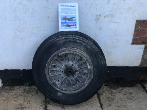 Complete undercarriage wheel, with all maker markings from RAF de havilland vampire F3 jet fighter