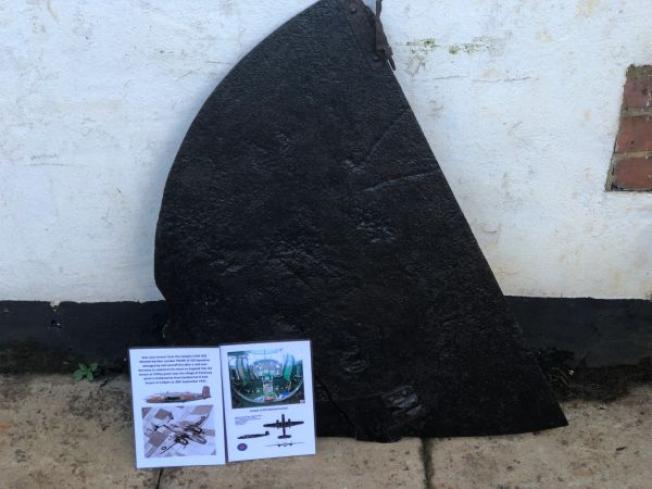 Very rare rear seat armour remains from the cockpit from RAF B25 Mitchell bomber number FW205 of 226 Squadron crashed near the village of Pevensey which is 8 kilometres from Eastbourne on 30th September 1944
