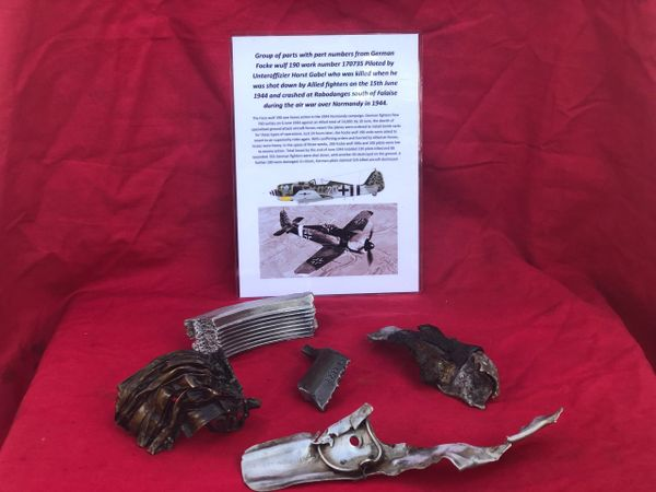 Group of engine parts with airframe panel lovely clean condition some with part numbers from German Focke wulf 190 number 170735 shot down by Allied fighters on the 15th June 1944 over Normandy it crashed near Falaise