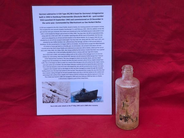 German glass bottle with the remains of its paper label maker marked Brilla still there recovered from U-Boat U534 which was sunk on 5th May 1945 by RAF bombers