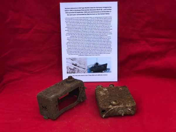 2 metal parts recovered from the engine room area from German U-Boat U534 which was sunk on the 5th May 1945 by RAF Bombers
