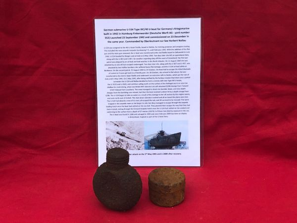 Small metal tin and metal bottle both rusty but complete recovered from from German U-Boat U534 which was sunk on the 5th May 1945 by RAF Bombers