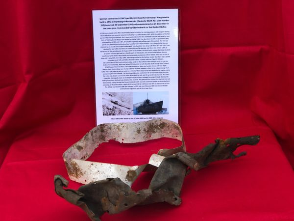 German crewman's steel helmet leather liner remains and metal ring still its original colour recovered from U-Boat U534 which was sunk on the 5th May 1945 by RAF bombers