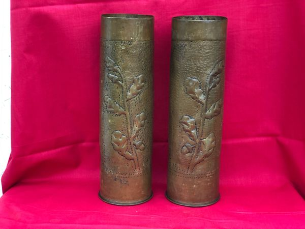 Lovely matching pair of single flower and pebble dash design well shortened French 75mm trench art shell cases dated 1917-1918 found on the Verdun battlefield of 1916-1918