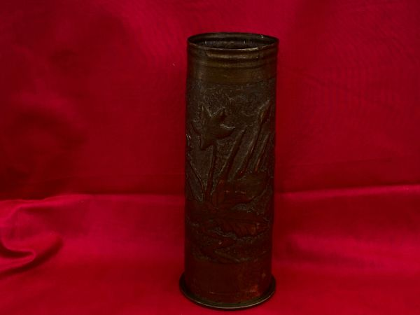 Lovely leaves, flower and pebble dash design German 77mm trench art shell case dated March 1917 found on the Verdun battlefield of 1916-1918