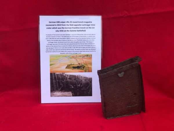 Rare German G98 sniper rifle 25 round trench magazine recovered in 2014 from field opposite Lochnagar mine crater at La Boisselle on the 1st July 1916 Somme battlefield