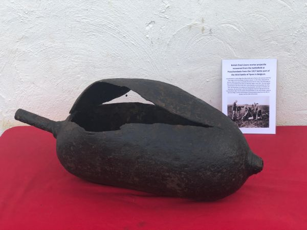 Very rare British fired Livens mortar which was filled with flammable or toxic chemicals the projectile, empty and inert recovered from the battlefield at Passchendaele from the 1917 battle part of the third battle of Ypres