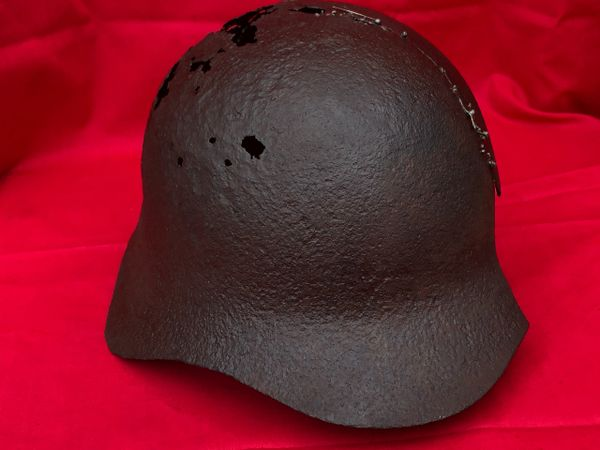 Rare Russian soldiers SSH36 pattern helmet, relic and repaired condition recovered from the Demyansk Pocket near Leningrad in Russia 1941-1942