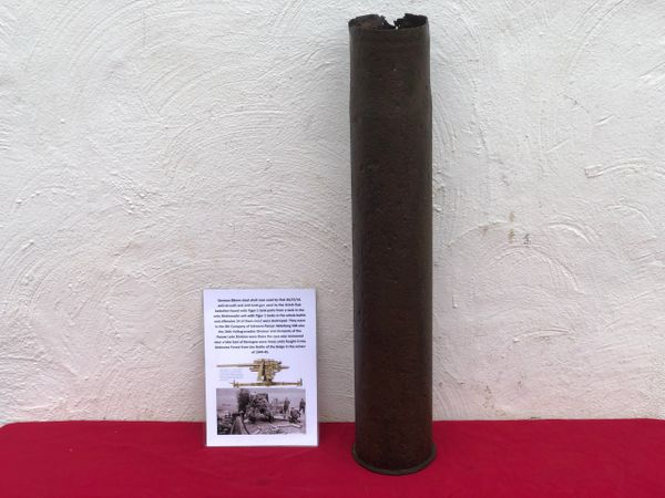 German steel made shell case for the flak 36/37/41 the famous 8.8cm anti aircraft and anti tank gun belonging to Luftwaffe 311th Flak battalion recovered from a Lake East of Bastogne from battle of the Bulge 1944-1945